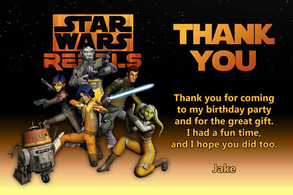 Star Wars Rebels Thank You Card