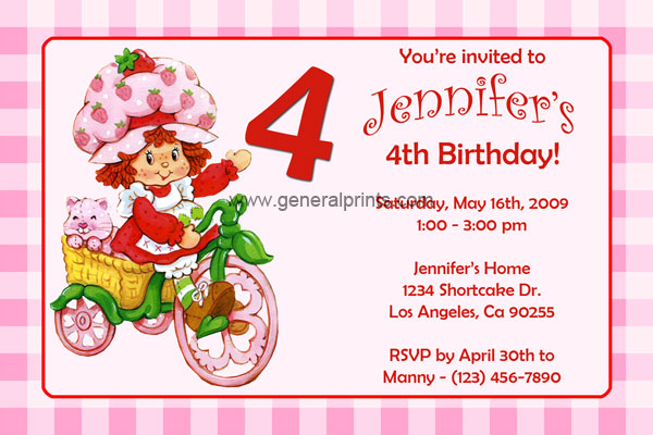 Strawberry shortcake invitations general prints strawberry shortcake invitation 1 filmwisefo Gallery