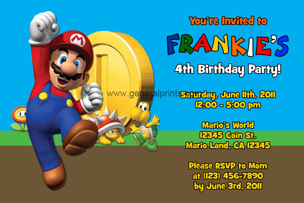 Super Mario Invitations General Prints