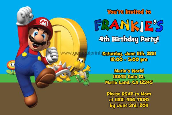 Super Mario Invitations General Prints