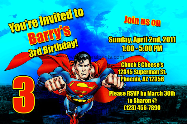 Superman Invitations | General Prints