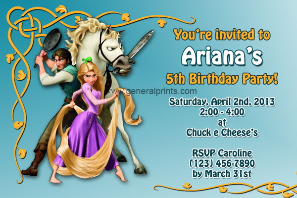 Tangled and Rapunzel Invitations – Rapunzel Party Invitations
