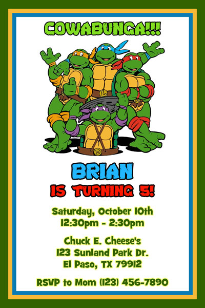 Teenage Mutant Ninja Turtles Birthday Invitations TMNT