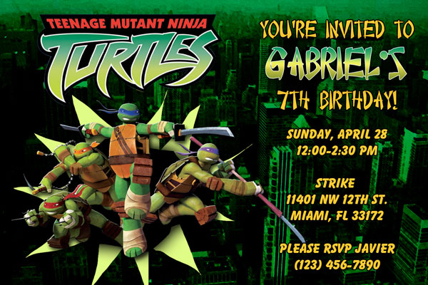 teenage mutant ninja turtles birthday invitations  tmnt, Birthday invitations