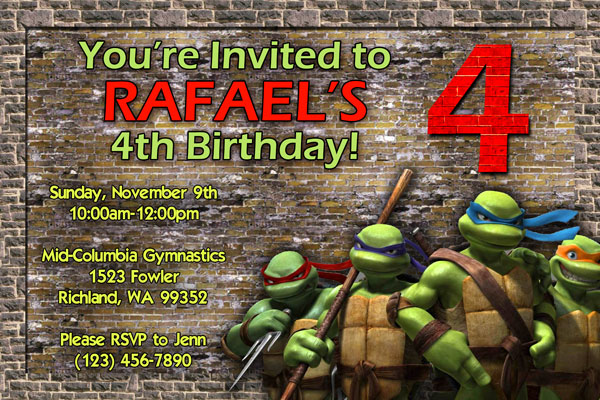 Teenage Mutant Ninja Turtles Invitation #3