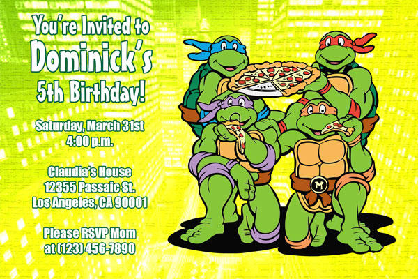 Teenage Mutant Ninja Turtles Birthday Invitations – Turtle Birthday Invitations