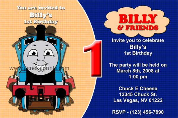 Thomas The Train Invitation