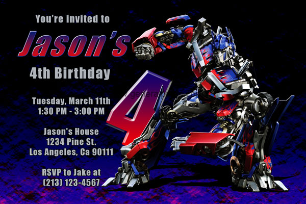 Invitations With Megatron And Optimus Prime