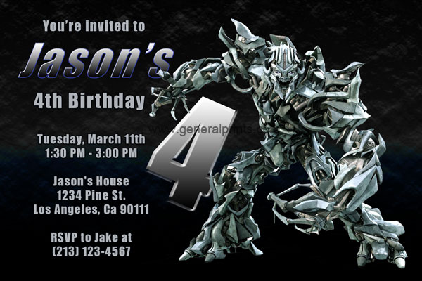 transformers invitations with megatron and optimus prime, Birthday invitations