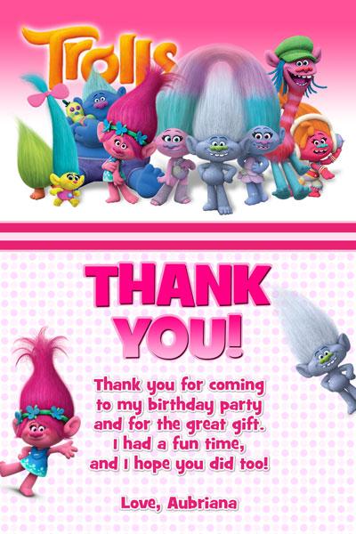 graphic regarding Free Printable Trolls Invitations named Totally free Printable Trolls Thank Yourself Playing cards Birthday Designs Versus