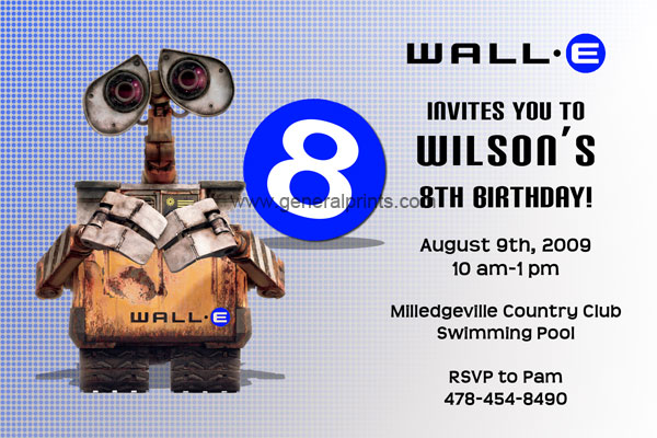 Wall E Invitation Blue