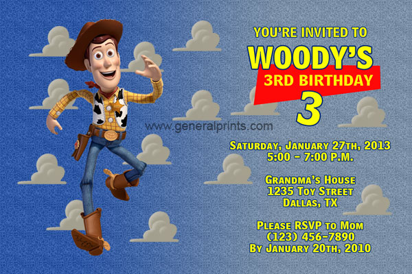 Woody Invitations From The Movie Toy Story General Prints