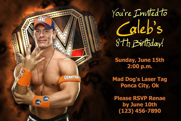 image relating to Wwe Birthday Invitations Printable Free named WWE Invites John Cena, The Rock, Daniel Bryan and further more