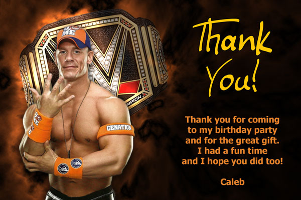 John Cena WWE Thank You Card