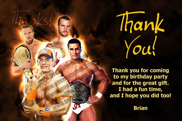 WWE Thank You Card - John Cena, Daniel Bryan