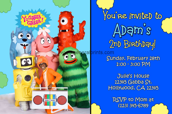 yo gabba gabba invitations - general prints, Birthday invitations