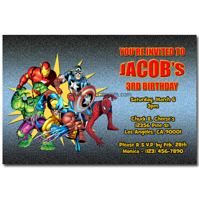 Marvel Superhero Invitations with Iron Man, Spiderman and more.