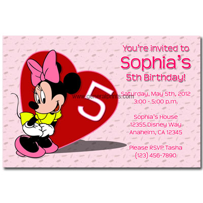 Printable Minnie Mouse Birthday Party Invitations