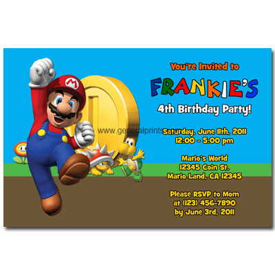 Vintage Super Mario Brothers – Super Mario Bros Party Invitations